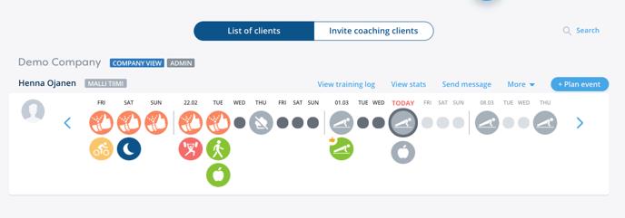 Coaching List of clients En