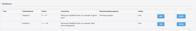 feedback list